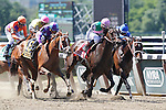 June 7, 2014: #1 Close Hatches (pink and green silks) trained by Bill Mott and ridden by Joel Rosario, wins the 46th running of the Grade I Ogden Phipps, one mile and a sixteenth for fillies and mares four and older at Belmont Park , Elmont, NY  ©Joan Fairman Kanes/ESW/CSM