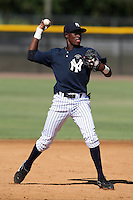 New York Yankees minor league third baseman Rafael Polo (28) vs. the Pittsburgh Pirates in an Instructional League game at the New York Yankees Minor League Complex in Tampa, Florida;  October 8, 2010.  Photo By Mike Janes/Four Seam Images