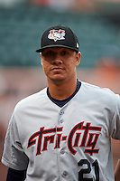 Tri-City ValleyCats pitcher Harold Arauz (21) walks to the dugout before a game against the Aberdeen Ironbirds on August 6, 2015 at Ripken Stadium in Aberdeen, Maryland.  Tri-City defeated Aberdeen 5-0 in a combined no-hitter.  (Mike Janes/Four Seam Images)