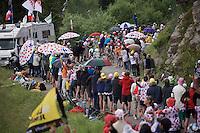 Rafal Majka (POL/Tinkoff) in the polka dot jersey in a polka dot landscape up the Montée de Bisanne (HC/1723m/12.4km/8.2%)<br /> <br /> Stage 19:  Albertville › Saint-Gervais /Mont Blanc (146km)<br /> 103rd Tour de France 2016