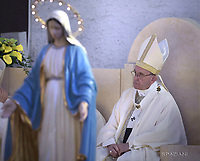 Pope Francis  during a visit to the Roman Parish of San Pier Damiani, on May 21, 2017 in Rome.