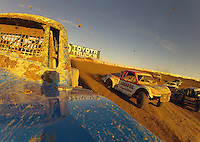 Dec. 10, 2011; Chandler, AZ, USA; View from the truck of LOORRS pro two unlimited driver Robby Woods as Rodrigo Ampudia goes inside (right)during round 15 at Firebird International Raceway. Mandatory Credit: Mark J. Rebilas-