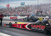 Sep 27, 2020; Gainesville, Florida, USA; NHRA top fuel driver Steve Torrence in his Don Garlits themed dragster alongside father Billy Torrence in the final round of the Gatornationals at Gainesville Raceway. Mandatory Credit: Mark J. Rebilas-USA TODAY Sports