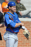 Florida Gators catcher Mike Zunino #3 during a game against the Tennessee Volunteers at Lindsey Nelson Stadium, Knoxville, Tennessee April 14, 2012. The Volunteers won the game 5-4  (Tony Farlow/Four Seam Images)..