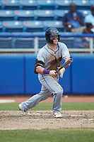 Evan Skoug (19) of the Winston-Salem Dash follows through on his swing against the San Bernardos de Salem at Haley Toyota Field on June 30, 2019 in Salem, Virginia. The Dash defeated the San Bernardos 3-2. (Brian Westerholt/Four Seam Images)