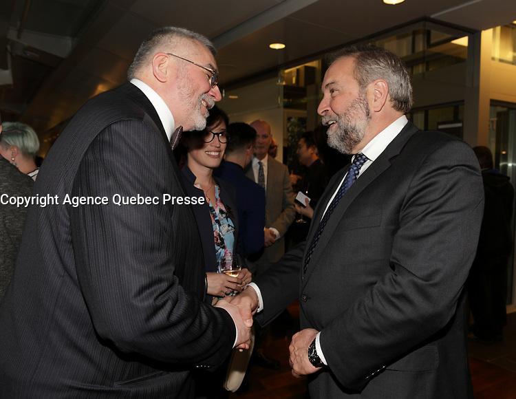 Thierry Arnaud, President de la Chambre de Commerce LGBT du Quebec et <br /> Thomas Mulcair<br /> au<br /> 13 ieme Gala Phenicia , 25 mai 2017