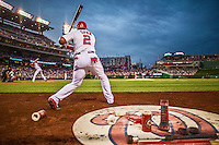 20 May 2014: Washington Nationals outfielder Denard Span on deck against the Cincinnati Reds at Nationals Park in Washington, DC. Span tied his career high of going 5 for 5 as the Nationals defeated the Reds 9-4 to take the second game of their 3-game series. Mandatory Credit: Ed Wolfstein Photo *** RAW (NEF) Image File Available ***