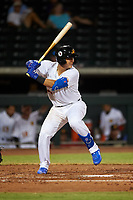 Mesa Solar Sox Miguel Amaya (33), of the Chicago Cubs organization, at bat during an Arizona Fall League game against the Scottsdale Scorpions on September 18, 2019 at Sloan Park in Mesa, Arizona. Scottsdale defeated Mesa 5-4. (Zachary Lucy/Four Seam Images)