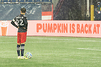 FOXBOROUGH, MA - NOVEMBER 1: Carles Gil #22 of New England Revolution prepares to shoot a penalty at the DC United goal during a game between D.C. United and New England Revolution at Gillette Stadium on November 1, 2020 in Foxborough, Massachusetts.