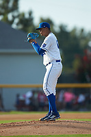 Burlington Royals starting pitcher Carlos Hernandez (60) looks to his catcher for the sign against the Danville Braves at Burlington Athletic Stadium on July 13, 2019 in Burlington, North Carolina. The Royals defeated the Braves 5-2. (Brian Westerholt/Four Seam Images)