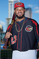 Jordany Valdespin (23) of the Rochester Red Wings poses for a photo prior to the game against the Charlotte Knights at BB&T BallPark on May 14, 2019 in Charlotte, North Carolina. The Knights defeated the Red Wings 13-7. (Brian Westerholt/Four Seam Images)