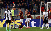 Calcio, Serie A: Roma vs Juventus. Roma, stadio Olimpico, 2 marzo 2015.<br /> Referee Daniele Orsato gives a red card to Roma's Vasileios Torosidis , right, during the Italian Serie A football match between AS Roma and Juventus at Rome's Olympic stadium, 2 March 2015.<br /> UPDATE IMAGES PRESS/Riccardo De Luca
