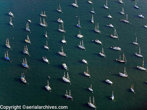 aerial photograph boats anchored San Diego bay, California