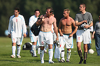 Meath United FC players leave the pitch after their East London Sunday League match at Hackney Marshes is abandoned - 21/09/08 - MANDATORY CREDIT: Gavin Ellis/TGSPHOTO - Self billing applies where appropriate - Tel: 0845 094 6026
