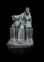 Ancient Egyptian statue of king Horemheb & his wife Mutnedjemet, granodiorite, New Kingdom, 18th Dynasty, (1319-1292 BC), Karnak, Temple of Amon. Egyptian Museum, Turin. black background.<br /> <br /> Queen Mutnedjemet is depicted in the role of Hathor, the sun god, embracing her husband. The statue is unfinished with details missing including the stripes in the Royal kilt, the wings of a vulture on the queens headdress and bound enemies on one side of the throne. On the back of the throne is a long inscription recording the coronation of Horemheb who was the general of Tutenkhamun before ascending to the throne. Drovetto collection. C 1379.