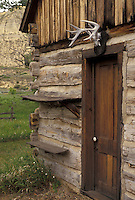 AJ3542, Theodore Roosevelt National Park, North Dakota, cabin, South Unit, Medora, Teddy Roosevelt's first ranch Maltese Cross log cabin at Theodore Roosevelt National Park in the South Unit in the state of North Dakota.