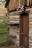 AJ3542, Theodore Roosevelt National Park, North Dakota, cabin, South Unit, Medora, Teddy Roosevelt's first ranch Maltese Cross log cabin at Theodore Roosevelt National Park in the South Unit in the state of North Dakota.