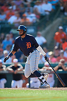 Detroit Tigers second baseman Dawel Lugo (18) follows through on a swing during a Grapefruit League Spring Training game against the Baltimore Orioles on March 3, 2019 at Ed Smith Stadium in Sarasota, Florida.  Baltimore defeated Detroit 7-5.  (Mike Janes/Four Seam Images)