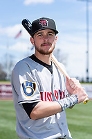 Wisconsin Timber Rattlers infielder Brice Turang (2) poses for a photo before a Midwest League game against the Great Lakes Loons at Dow Diamond on May 4, 2019 in Midland, Michigan. (Zachary Lucy/Four Seam Images)