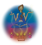 Woman meditating in front of incense sticks