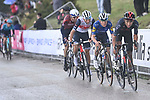 The lead group of GC riders with Egan Bernal (COL) Ineos Grenadiers, Remco Evenepoel (BEL) Deceuninck-Quick Step, Giulio Ciccone (ITA) Trek-Segafredo and Dan Martin (IRL) Israel Start-Up Nation on the final climb of Stage 6 of the 2021 Giro d'Italia, running 160km from Grotte di Frasassi to Ascoli Piceno (San Giacomo), Italy. 13th May 2021.  <br /> Picture: LaPresse/Fabio Ferrari | Cyclefile<br /> <br /> All photos usage must carry mandatory copyright credit (© Cyclefile | LaPresse/Fabio Ferrari)