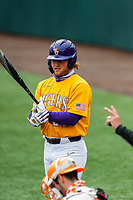 LSU Tigers designated hitter Cade Beloso (24) at bat against the Tennessee Volunteers on Robert M. Lindsay Field at Lindsey Nelson Stadium on March 28, 2021, in Knoxville, Tennessee. (Danny Parker/Four Seam Images)