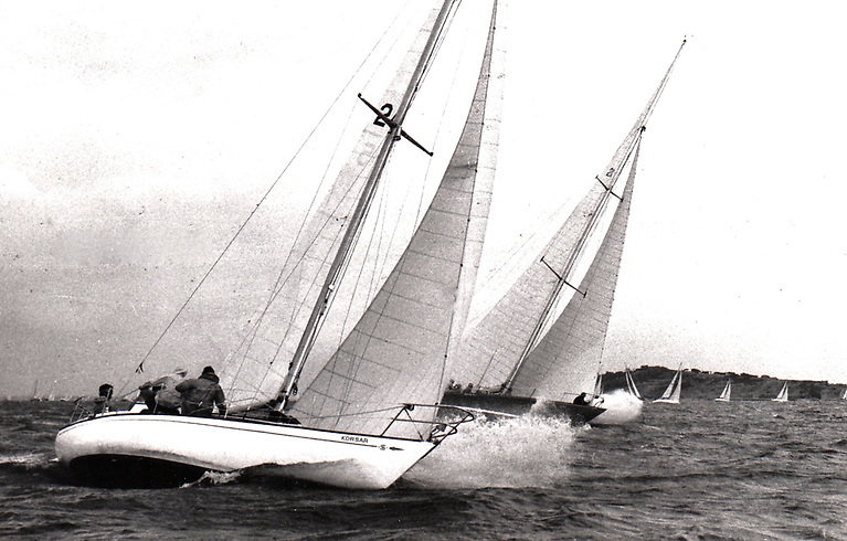Fifty years ago to the day, Jack MacKeown's S&S 34 Korsar (RStGYC, sailed by John Bourke) is seen from Ronnie Wayte's Hustler 35 Setanta of Skerries as they duel their way westward into the Needles Channel in the early stages of the 1971 Fastnet Race, with the great Ted Turner's 12 Metre American Eagle thundering through with a performance which will take line honours and set a new course record
