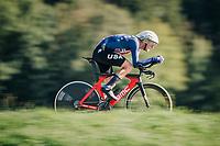 Tejay van Garderen (USA/BMC)<br /> <br /> MEN ELITE INDIVIDUAL TIME TRIAL<br /> Hall-Wattens to Innsbruck: 52.5 km<br /> <br /> UCI 2018 Road World Championships<br /> Innsbruck - Tirol / Austria