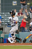 Winston-Salem Dash shortstop Laz Rivera (16) at bat during a game against the Myrtle Beach Pelicans at Ticketreturn.com Field at Pelicans Ballpark on July 23, 2018 in Myrtle Beach, South Carolina. Winston-Salem defeated Myrtle Beach 6-1. (Robert Gurganus/Four Seam Images)