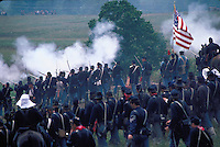 Reenactment of the Battle Of Bull Run at Manassas, Virginia. This was an important early Civil War battle in which the Confederates won. Historical. Civil War Re-Enactors. Centreville Virginia USA Fairfax County.