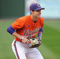 Infielder John Hinson (4) of the Clemson Tigers prior to a game against the South Carolina Gamecocks on Tuesday, March 8, 2011, at Fluor Field in Greenville, S.C.  Photo by Tom Priddy / Four Seam Images