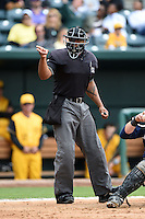 Home plate umpire J.J. January makes a call during a game between the Pensacola Blue Wahoos and Jacksonville Suns on April 20, 2014 at Bragan Field in Jacksonville, Florida.  Jacksonville defeated Pensacola 5-4.  (Mike Janes/Four Seam Images)