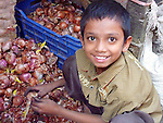 A young boy sorts a load of onions at a Sylhet market.