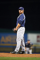 Pensacola Blue Wahoos pitcher Kyle McMyne (28) gets ready to deliver a pitch during a game against the Mississippi Braves on May 28, 2015 at Trustmark Park in Pearl, Mississippi.  Mississippi  defeated Pensacola 4-2.  (Mike Janes/Four Seam Images)