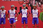 Groupama-FDJ at sign on before the start of Stage 5 of the 2021 UAE Tour running 170km from Fujairah to Jebel Jais, Fujairah, UAE. 25th February 2021.  <br /> Picture: Eoin Clarke   Cyclefile<br /> <br /> All photos usage must carry mandatory copyright credit (© Cyclefile   Eoin Clarke)