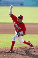 August 16, 2009:  Pitcher Chris Corrigan of the Batavia Muckdogs delivers a pitch during a game at Dwyer Stadium in Batavia, NY.  The Muckdogs are the Short-Season Class-A affiliate of the St. Louis Cardinals.  Photo By Mike Janes/Four Seam Images