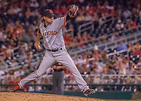 6 August 2016: San Francisco Giants pitcher Jake Peavy on the mound against the Washington Nationals at Nationals Park in Washington, DC. The Giants defeated the Nationals 7-1 to even their series at one game apiece. Mandatory Credit: Ed Wolfstein Photo *** RAW (NEF) Image File Available ***