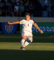 Cat Whitehill prepares a kick. USA defeated Japan 4-1 at Spartan Stadium in San Jose, CA on July 28, 2007.