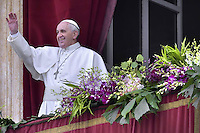 Pope Francis during the Sunday Easter mass 'Urbi et Orbi' (to the city and the world) benediction in Saint Peter's Square at the Vatica. 5 April 2015