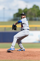 Glendale Desert Dogs relief pitcher Jordan Sheffield (10), of the Los Angeles Dodgers organization, delivers a pitch during an Arizona Fall League game against the Peoria Javelinas at Peoria Sports Complex on October 22, 2018 in Peoria, Arizona. Glendale defeated Peoria 6-2. (Zachary Lucy/Four Seam Images)