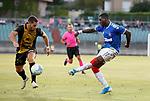 01.08.2019 Progres Niederkorn v Rangers: Sheyi Ojo with a shot