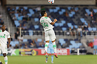SAINT PAUL, MN - MAY 1: Nick Lima #24 of Austin FC heads the ball during a game between Austin FC and Minnesota United FC at Allianz Field on May 1, 2021 in Saint Paul, Minnesota.