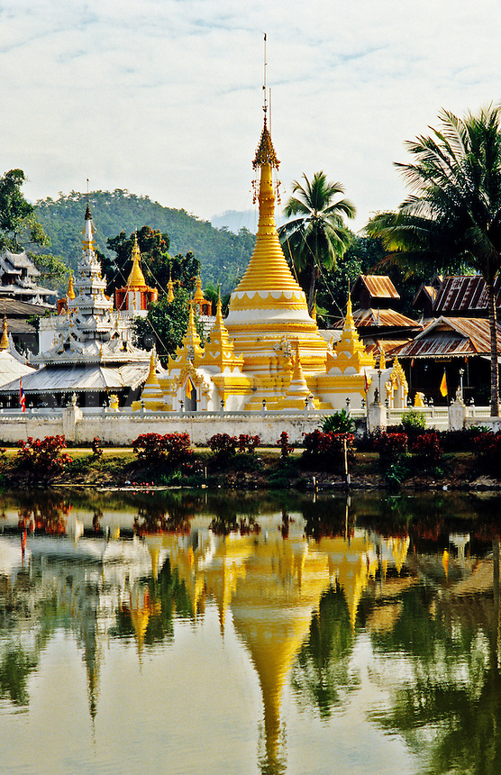 Thailand. Mae Hong Son.  Wat Chong Klong/Klang built in the Burmese style.