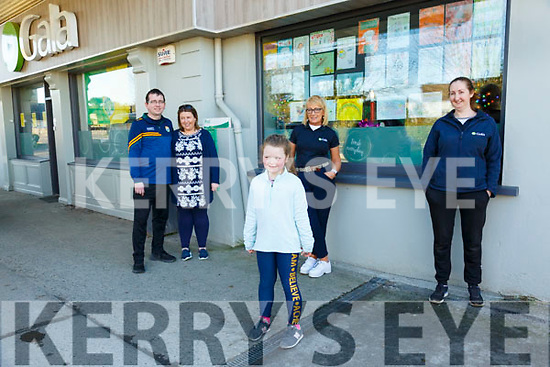 Thank You HSE: Pictured at the Six Crosses Gala Service station where one of the windows was decorated with thank you notes to the staff of the HSE in Kerry during this pandemic were proprietors  Noel & Rose Kelly, Marian Ryan, Mairead O'Connell and in front Ella O'Neill.