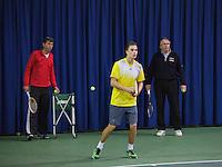21-02-2014, Netherlands, Eemnes,  Michiel Schapers(NED), Coach and Martin Siemek(R)<br /> Photo: Henk Koster