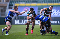 18th April 2021 2021; Recreation Ground, Bath, Somerset, England; English Premiership Rugby, Bath versus Leicester Tigers; Taulupe Faletau and Sam Underhill of Bath tackles Matías Moroni of Leicester Tigers
