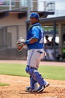 FCL Blue Jays catcher Victor Mesia (28) during a game against the FCL Yankees on June 29, 2021 at the Yankees Minor League Complex in Tampa, Florida.  (Mike Janes/Four Seam Images)