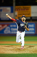 Reading Fightin Phils pitcher Ryan O'Sullivan (23) delivers a pitch during a game against the New Britain Rock Cats on August 7, 2015 at FirstEnergy Stadium in Reading, Pennsylvania.  Reading defeated New Britain 4-3 in ten innings.  (Mike Janes/Four Seam Images)