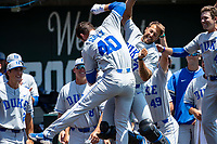 Duke Blue Devils left fielder RJ Schreck (40) celebrates a home run against the Wright State Raiders in NCAA Regional play on Robert M. Lindsay Field at Lindsey Nelson Stadium on June 5, 2021, in Knoxville, Tennessee. (Danny Parker/Four Seam Images)