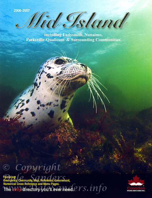 """Cover of  vancouver Island """"Mid Island""""  Phone Directory featuring a Harbour Seal underwater."""